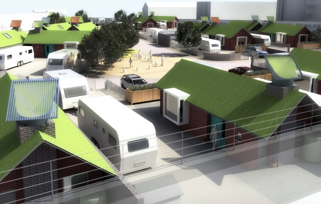 Overview of the proposal with green roofs and photovoltaic 'chimney'