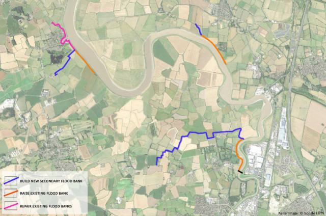 Location of the proposed barrier and the downstream flood defence works.
