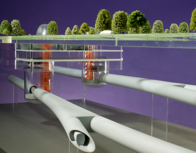 Image of Crossrail intervention and ventilation shaft head house and integrated park landscaping.