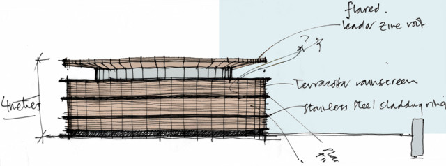 Sketch concept of head house at Hertsmere Road