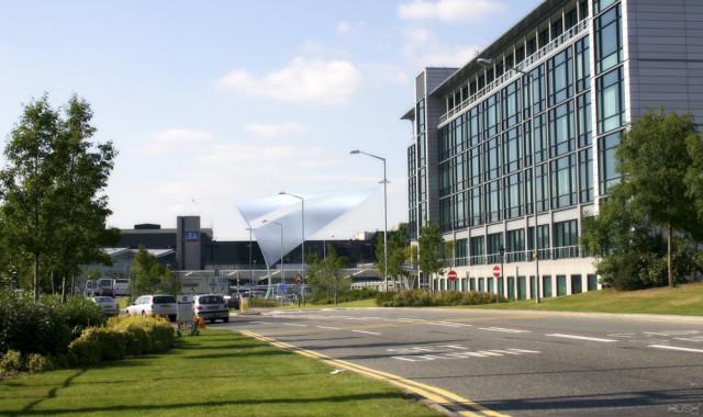 Photomontage of the wayfinding proposal at Birmingham Airport