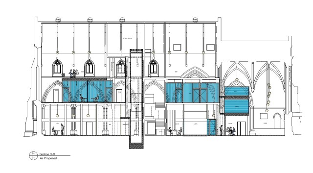 Drawn section illustrating the proposals. Blue identifying the office spaces with the former church building