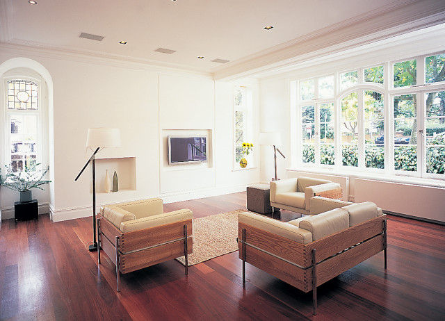 Living room and recessed audio visual equipment