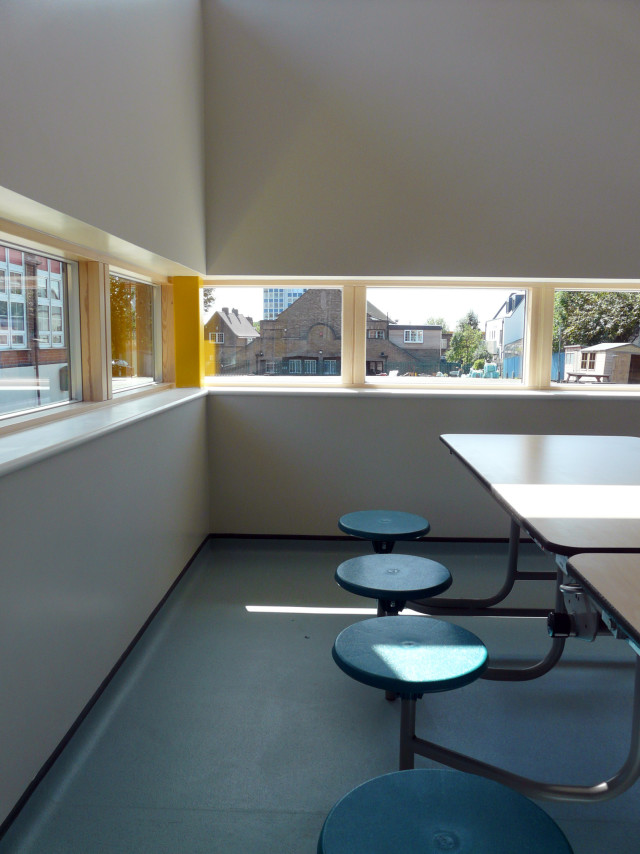 Corner view from the new school dining hall